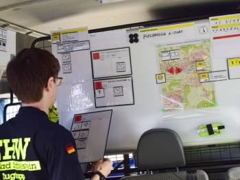 Lagekarte: Ein Schwerpunkt bei der 2-Tages-Übung des Zugtrupps war die möglichst übersichtliche Darstellung aktuellen Lage